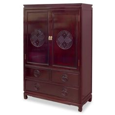 "Rosewood Longevity Design Armoire - Dark Cherry by ChinaFurnitureOnline. $1890.00. Delicately hand-carved longevity symbol on doors and drawers. Hand-applied dark cherry finish. Dimensions: 40""W x 19""D x 60""H. Two removable shelves behind doors. To be used for storing cloths or converted into an entertainment center, an armoire is the most versatile furniture in its function. Ample storage space behind doors with two removable shelves. Beautiful Longevity symbols are h..."