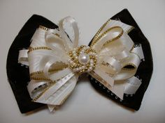 ELEGANT Brown Velvet Hair Bow Dressy Holiday Christmas Flower Girl Pageant Boutique