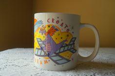 Vintage Figment, Coffee Mug, Walt Disney Music Company, Purple Dragon, Loveable Fellow, Create, Imagine, Dream, Epcot Character, Cartoon by BrindleDogVintage on Etsy