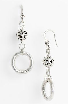 hand carved beads & hammered loops by Lois Hill; beautiful earrings for everyday.