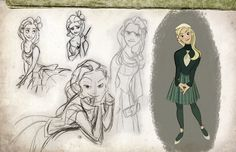 Collection of Wicked character art created by Disney animator Minkyu Lee, which shows us what the characters would look like in a Disney animated film.