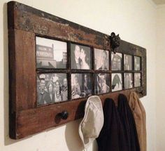 Pic frame and coat hooks made out of glass door