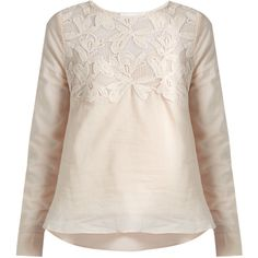 See By Chloé Lace-yoke cotton top (€265) ❤ liked on Polyvore featuring tops, nude, cotton camisole, lace camisole top, lace cami top, camisole tops and pink camisole