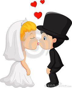 Beijo do noivo e da noiva dos desenhos animados A
