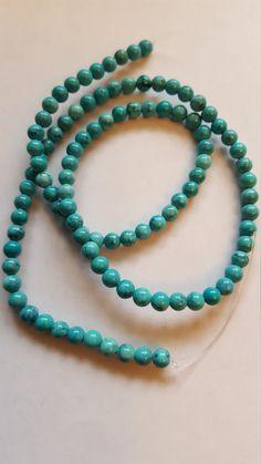 Turquouse round beads 4mm 16 strand by MadeByMargPlus on Etsy