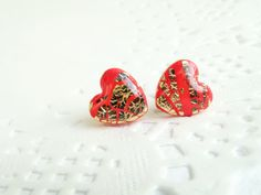 Resin studs Red Gold heart stud earrings. Polymer by Eternity31