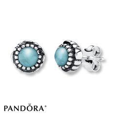 Pandora Earrings Aquamarine Sterling Silver