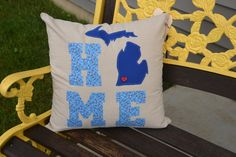 Show your pride for the great state of Michigan with this adorable square home pillow!!! We can make this pillow in ANY of the 50 states. This purchase is for a Michigan HOME 18 x 18 pillow cover only. The cover is a beige faux linen with a blue floral country print and a blue Michigan. A red wooden heart button is sewn on the location of your choice. Need more hearts? We can add as many as you like. ****** At checkout please list the city where you would like your wooden heart sewn. Need a…