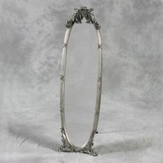 Antique Silver Free-Standing Dressing Mirror with Metal Stand