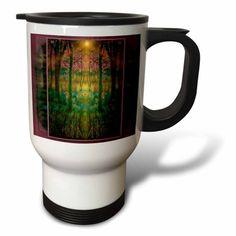 3dRose Secret Garden fantasy dream mythology myth spiritual harmony nirwana heavenly garden light , Travel Mug, 14oz, Stainless Steel