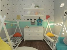 Decoradornet - O seu decorador a uma tela de distância! Baby And Toddler Shared Room, Boy And Girl Shared Room, Shared Boys Rooms, Boy Girl Room, Toddler Rooms, Shared Bedrooms, Sibling Bedroom, Kids Room Design, Kids Bedroom Designs