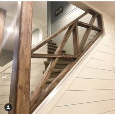 The stairwell is done you guys! Sorry hard to take pics down here without the streams of pot lights gleaming down 💥🤦🏻‍♀️ basement… Basement Staircase, Rustic Staircase, Basement House, Basement Plans, Basement Renovations, Home Remodeling, Home Renovation, Basement Ideas, Basement Lighting