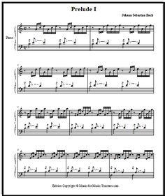 "Bach music ""Prelude in C"" is a familiar, beautiful piano or keyboard piece suitable for weddings, recitals, even funerals. Get the free sheet music at Music-for-music-teachers.com"