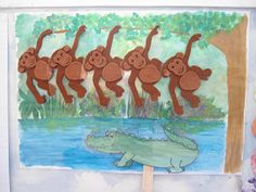 5 Little Monkeys Visual @ Teacher Weena Preschool Projects, Classroom Activities, Toddler Activities, Crafts For Kids, Alligators, Crocodiles, Learning Stations, Kids Learning, Music Therapy