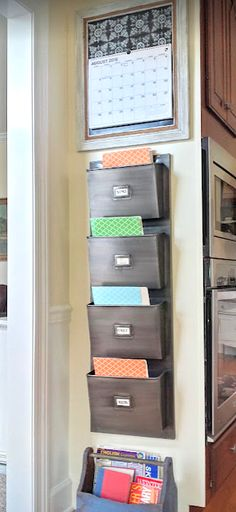 This rustic farmhouse kitchen command center is an easy, inexpensive solution to taming homework clutter. I used things I already had on hand, along with some fresh paint and an end of cabinet which was otherwise going unused.