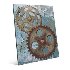 "Click Wall Art Double Gear Graphic Art on Canvas Size: 24"" H x 20"" W x 1"" D"