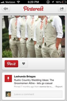 Groomsmen with ties matching bridesmaids dresses. Would love this but navy and white striped tie or mint and white striped !