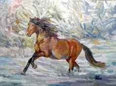 horse in winter forest  60x80 oil on canvas