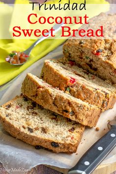A sweet bread made with grated coconut coconut milk raisins cherries currants and dried fruits often flavored with spices like nutmeg cinnamon. Carribean Food, Caribbean Recipes, Carribean Desserts, Caribbean Drinks, Caribbean Queen, Baking Recipes, Cake Recipes, Dessert Recipes, Scd Recipes