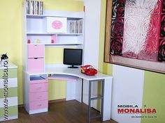 Birou Copii - Fete Alb Roz Belle Office Desk, Corner Desk, Bedroom, Furniture, Home Decor, Gaming, Studio, Lighting, Google