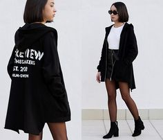 Get this look: http://lb.nu/look/8589041  More looks by Esther Luque: http://lb.nu/estherluque  Items in this look:  5 Preview Hoodie, Giant Vintage Kurt Cobain Sunnies, Gamiss B&W Sweater, Missguided Faux Leather Skirt, Zara Ankle Boots   #casual #chic #minimal #sporty #effortless