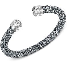 Swarovski Silver-Tone Black Crystal and Crystaldust Open Cuff Bracelet ($48) ❤ liked on Polyvore featuring jewelry, bracelets, silver, crystal bangles, cuff bracelet, silvertone jewelry, cuff bangle and silver tone jewelry
