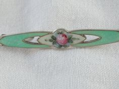 FA Hermann Guilloche Sterling Bar Pin with Rose by Jadelsjewelry