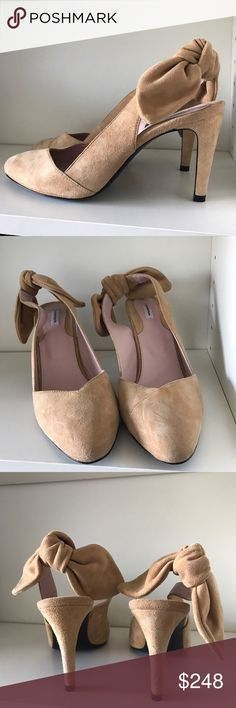 Carven Bow Slingback Pumps Camel suede bow slingback pumps. Size 41. Heels measure approximately 3.5 inches. Only worn once - in great condition! Carven Shoes Heels