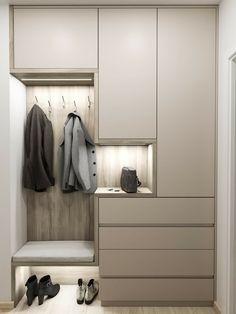 Home Hall Design, Home Office Design, House Design, Hallway Closet, Hallway Storage, Home Entrance Decor, House Entrance, Home Decor, Flur Design
