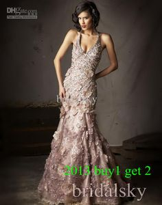 Discount Halter Mermaid Brush Lace Beading Flowers Evening Dresses Free Veil Free Tiara 2013 Buy1 Get 2 Online with $156.5/Piece | DHgate