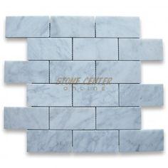 master shower surround ?? 2x4 tile mounted on sheets, easier/cheaper to install than individual 3x6 tile??) Carrara White 2x4 Grand Brick Subway Mosaic Tile Honed   $9.99 sq foot