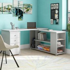 Brayden Studio Conwell Reversible L-Shape Computer Desk Color: Laricina White Home Office Desks, Home Office Furniture, Office Decor, Office Ideas, Office Layouts, Office Designs, Turquoise Office, Desk Organization Diy, Organizing