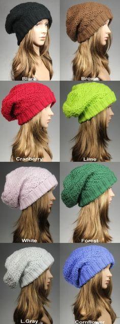 Knit Slouch Beanie Slouchy Hat Women Hat Knit Hat by GoKnitsDotCom