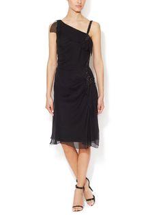 Silk Jeweled Asymmetrical Dress by Carolina Herrera at Gilt