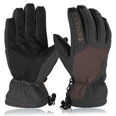 #Skihandschuhe, HiCool Ski-/Snowboard-Handschuhe Sporthandschuhe Winterbekleidung Thermohandschuhe für Herren Damen (Braun/Schwarz, S), 00611864366616