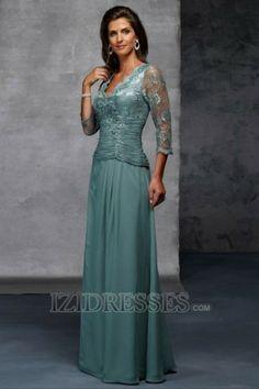 A-Line Princess V-neck Chiffon Lace Mother Of The Bride Dresses - IZIDRESSES.COM