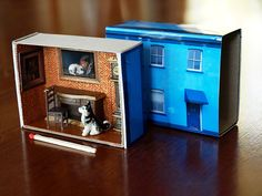 Large Matchbox House: Miniature Room inside a Matchbox