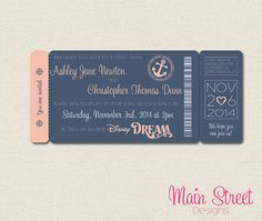 Cruise Boarding Pass Wedding Invite by MainStreetDesigns on Etsy, £10.00