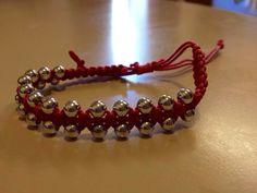 Woven Pink Bracelet with Silver Beading by originalsbyem on Etsy Beading, My Etsy Shop, Bracelets, Silver, Pink, Jewelry, Beads, Jewlery, Money