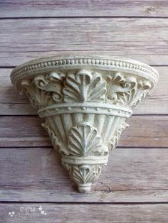 Decorative wall shelf antique white vintage chic acanthus leaf Upcycled  eco friendly Ready to Ship - pinned by pin4etsy.com