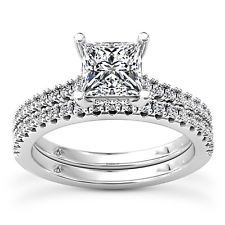 D/SI1 PRINCESS CUT DIAMOND ENGAGEMENT RING 3.00 CT 14K WHITE GOLD ENHANCED REAL