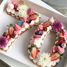 Strawberries, choc macarons, choc bars etc Pretty Cakes, Beautiful Cakes, Amazing Cakes, Bolo Nacked, Alphabet Cake, Bolo Floral, Cake Lettering, Monogram Cake, Garden Cakes
