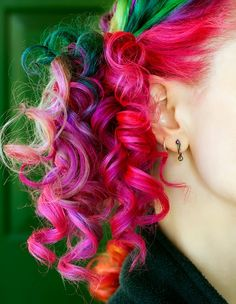 Colorful corkscrew curls...how lovely! The curls make the colors even more fun.