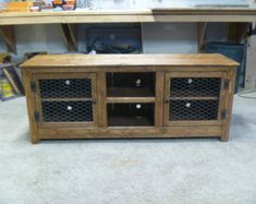"""60"""" Rustic Pallet TV stand cabinet , Sideboard, reclaimed wood, shabby chic, media stand, chicken wire"""