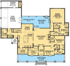 3 Bedroom Acadian Home Plan - 56364SM: French Country, Bonus Room, Butler Walk-in Pantry, Study,| Architectural Designs (Modify study into a kitchen eating area, or push family room into porch & use as formal dining & living area. Extend porch space to compensate for lost area.)