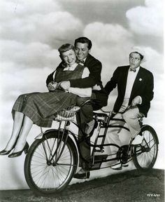 """Doris Day, Gordon MacRae and Jack Smith ride a bike. Movie, """"On Moonlight Bay,"""" Warner Brothers, 1951 Old Movies, Great Movies, Hollywood Stars, Old Hollywood, Hollywood Glamour, On Moonlight Bay, Star Wars, She Is Gorgeous, Girl Next Door"""