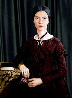 colorized by Jecinci // Dickinson was an American poet. While Dickinson was a pr… Female Poets, American Poets, Writers And Poets, Sylvia Plath, Emily Dickinson, Classic Literature, Writing Poetry, Women In History, Celebs