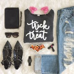 F A S H I O N // I'm beyond excited about my new 'Trick or Treat' sweatshirt from @ilycouture  Ready to take it for a spin to the pumpkin patch this weekend!! . . . .  http://liketk.it/2pnRu @liketoknow.it  #liketkit #ootd #trickortreat #ilycouture #candycorn #treats #flatlay #falloutfit #fallfashion #stylist #style #fashionblogger #fashion #whatimwearing #catears #f21xme #halloween #happyhalloween #rockstuds #ltkshoecrush #shoecrush