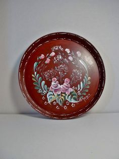 A Metal Tray Painted Burgundy Hand Painted by FolkArtByNancy