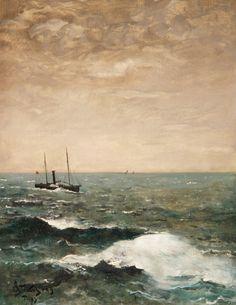 Alfred Stevens (Brussels 1823 - Paris 1906) ,Marine with steamer